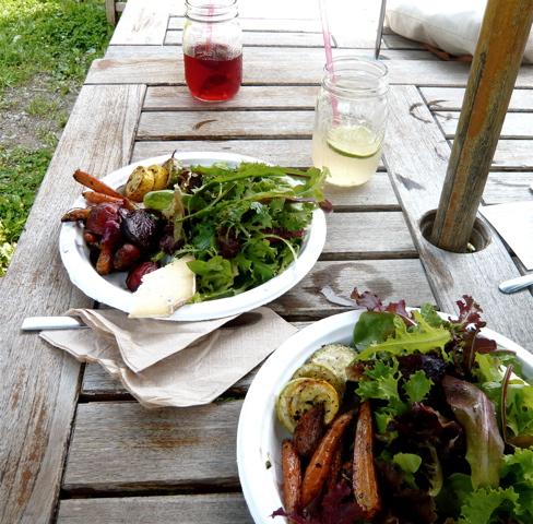 grilled vegetables and salad