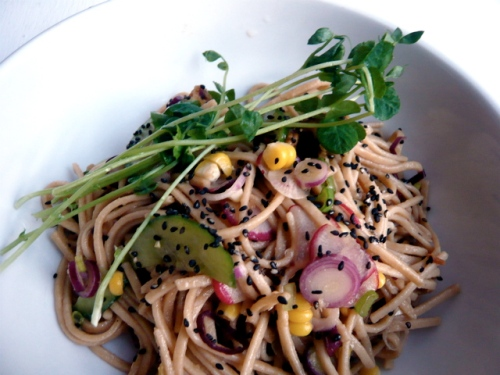 summer whole wheat udon noodle salad
