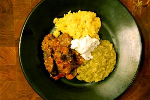 eggplant curry & accompaniments