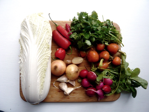 kimchi ingredients, left out the cilantro