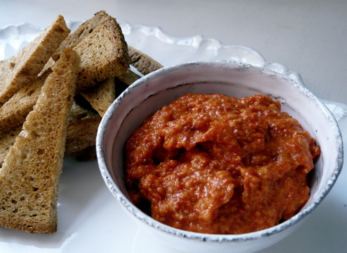 roast red pepper macadamia pate with spelt crostini