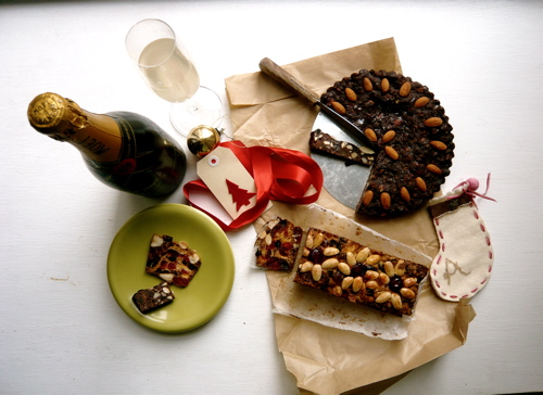 "pane forte, ""stained glass"" fruit cake, champagne and handmade stocking"